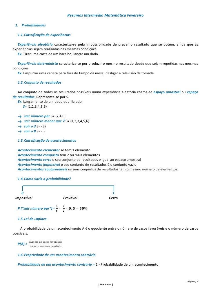 Resumos matemática (intermédio fevereiro)