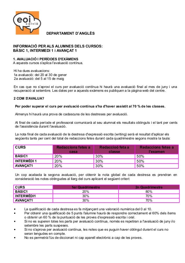 DEPARTAMENT D'ANGLÈS INFORMACIÓ PER ALS ALUMNES DELS CURSOS: BÀSIC 1, INTERMEDI 1 i AVANÇAT 1 1. AVALUACIÓ I PERÍODES D'EX...