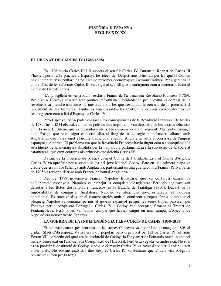 HISTÒRIA D'ESPANYA<br />SEGLES XIX-XX<br />EL REGNAT DE CARLES IV (1788-1808). <br />En 1788 moria Carles III i li succeïa...