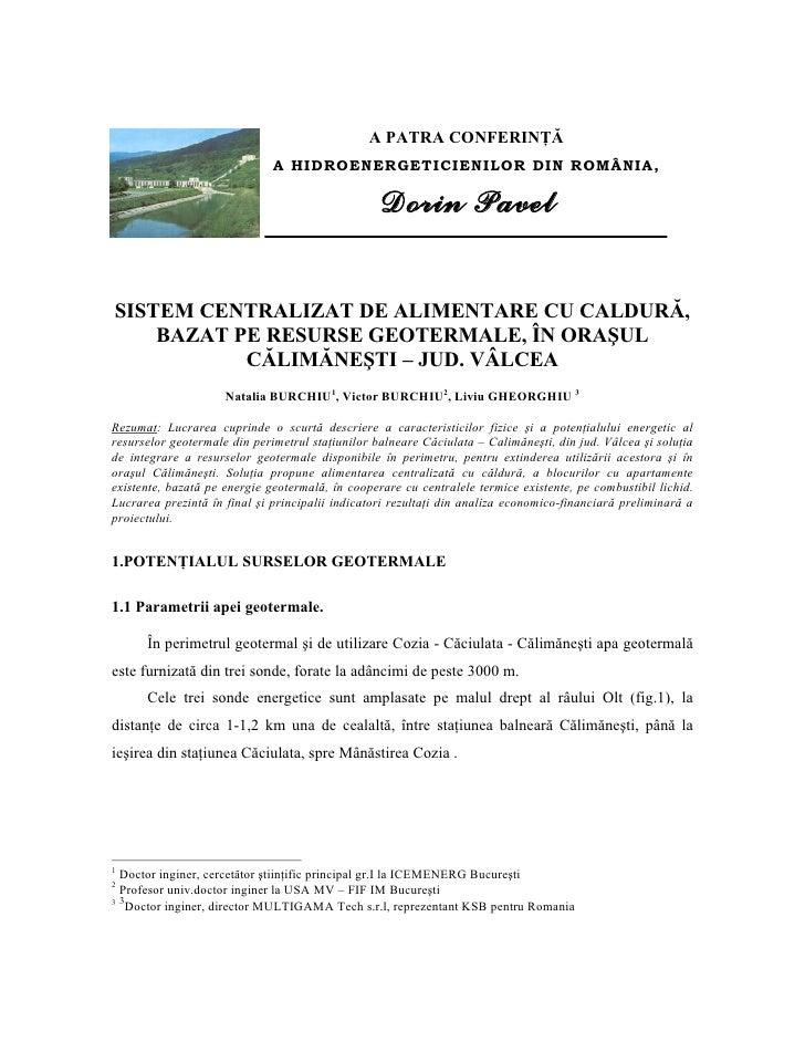 Resurse Geotermale In Calimanesti, Romania