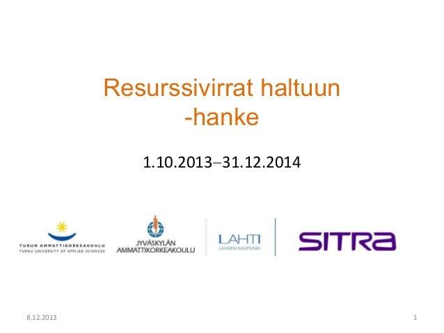 Resurssivirrat haltuun -seminaari: Kirsi Knuuttila Jamk