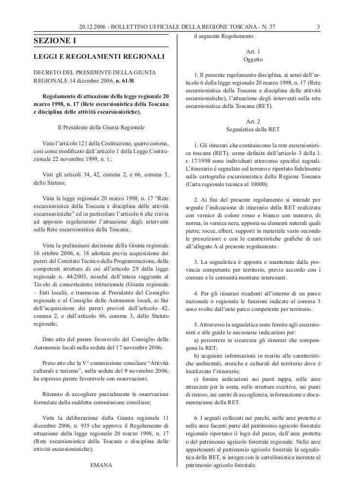 20.12.2006 - BOLLETTINO UFFICIALE DELLA REGIONE TOSCANA - N. 37                                       3                   ...