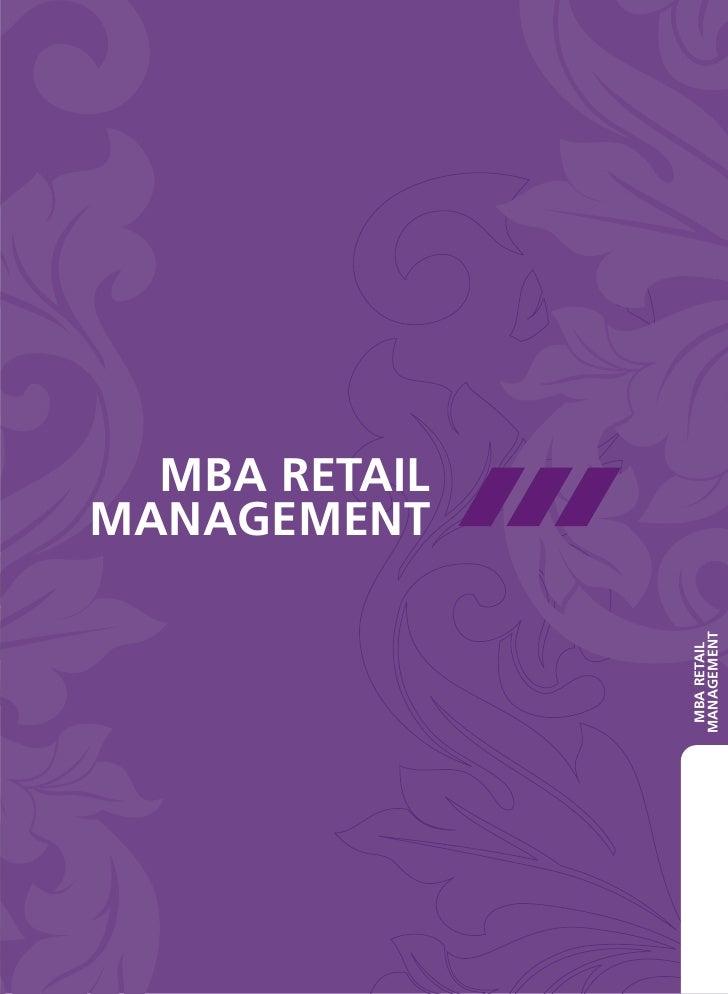 MBA RETAILMANAGEMENT               MANAGEMENT                MBA RETAIL