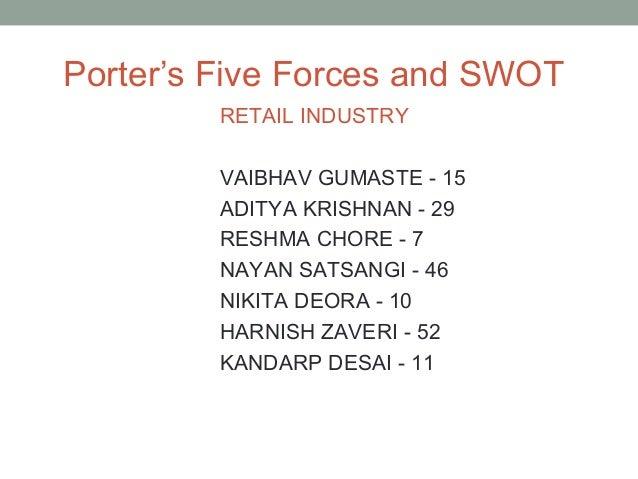 Porter's Five Forces and SWOT         RETAIL INDUSTRY         VAIBHAV GUMASTE - 15         ADITYA KRISHNAN - 29         RE...