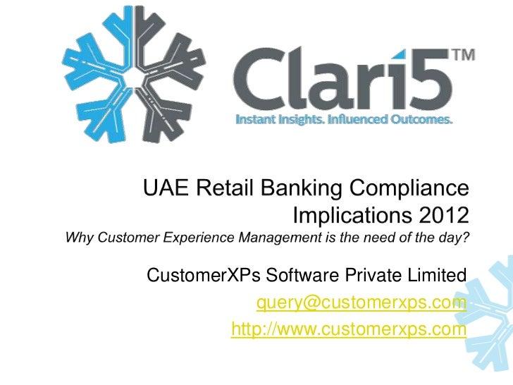Retail banking compliance implications - UAE 2012