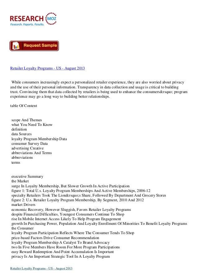 Retailer Loyalty Programs Industry in US to August 2013