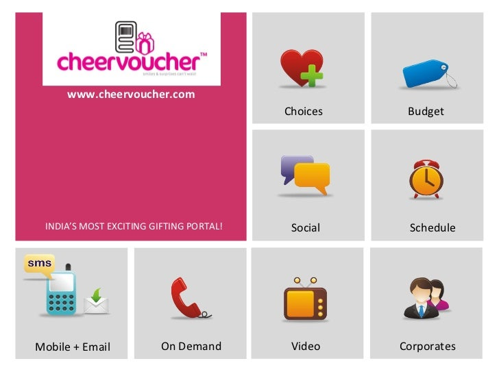 www.cheervoucher.com                                         Choices    Budget INDIA'S MOST EXCITING GIFTING PORTAL!    So...