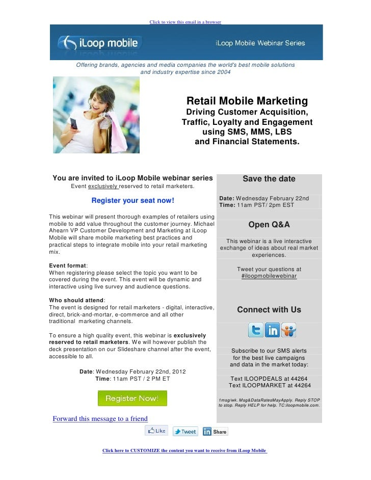 Webinar Invitation: Retail Mobile Marketing