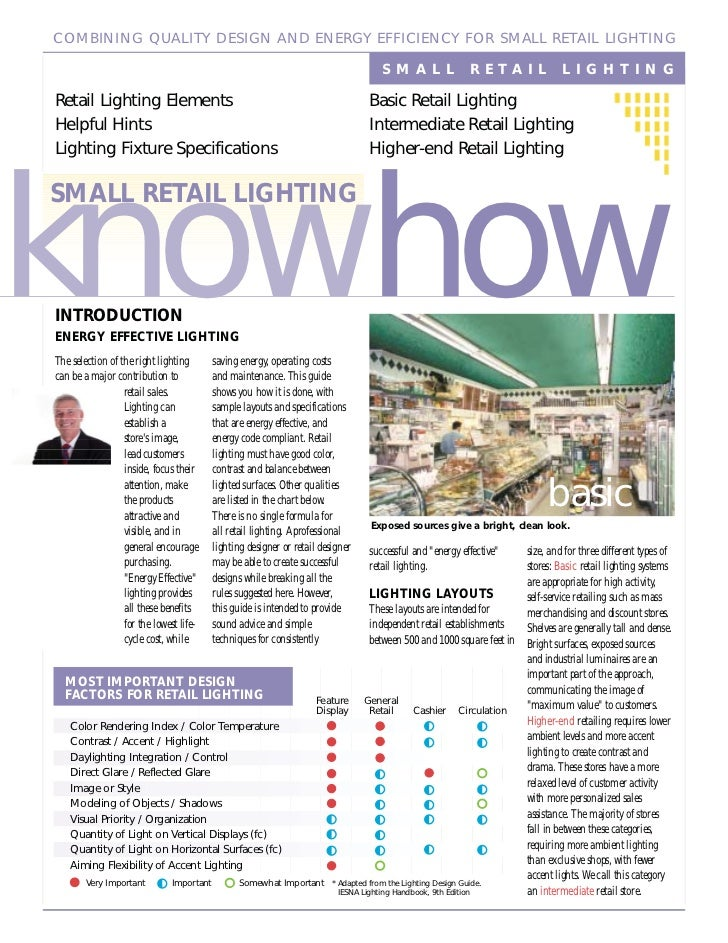 COMBINING QUALITY DESIGN AND ENERGY EFFICIENCY FOR SMALL RETAIL LIGHTING                                                  ...