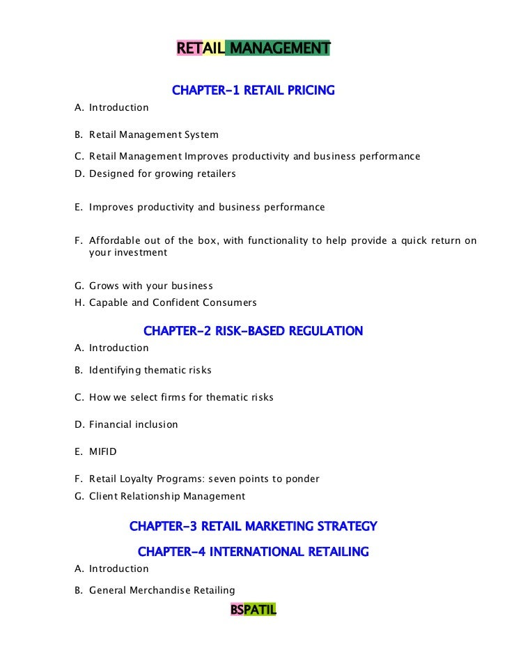 RETAIL MANAGEMENT                    CHAPTER-1 RETAIL PRICINGA. IntroductionB. Retail Management SystemC. Retail Managemen...
