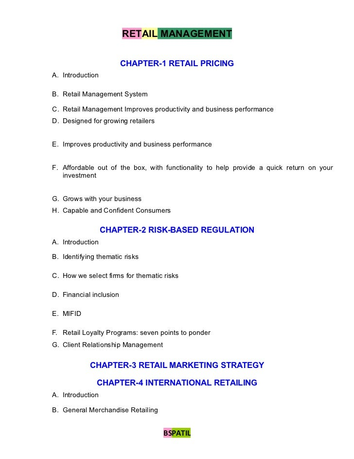 RETAIL MANAGEMENT                         CHAPTER-1 RETAIL PRICINGA. IntroductionB. Retail Management SystemC. Retail Mana...