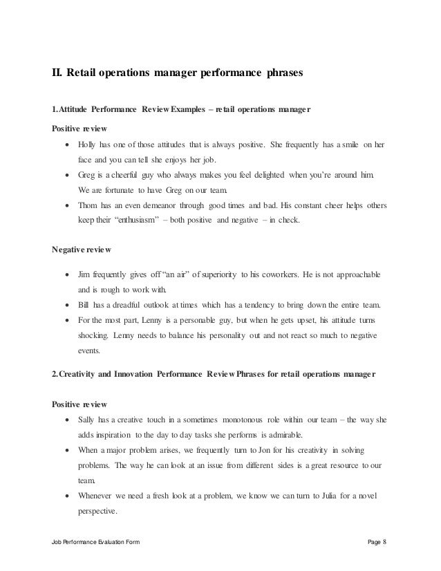 retail operations manager performance appraisal evaluated by date reviewed by date 8 job performance evaluation form page 8 ii retail operations manager