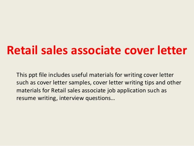 Sales associate cover letter, retail, example, sample, selling