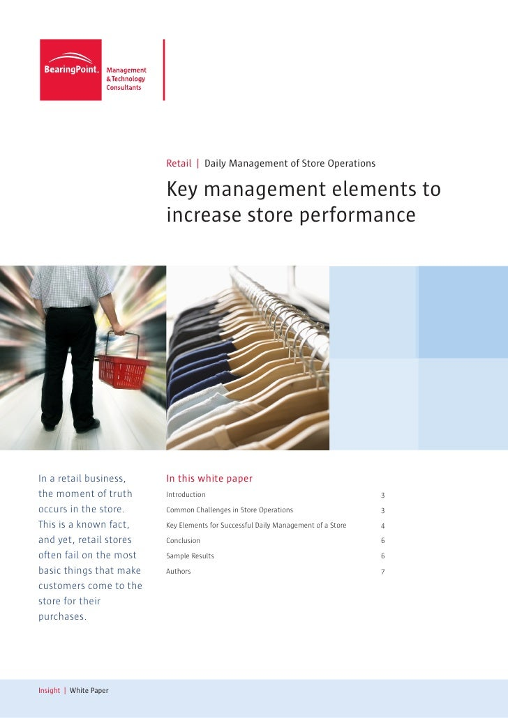 Retail | Daily Management of Store Operations                           Key management elements to                        ...