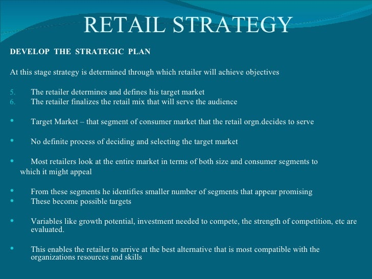 marketing implementation strategy of a retail A marketing plan is a written document that details the necessary actions to achieve one or more marketing objectives it can be for a product or service (economics) service, a brand, or a product line marketing plans cover between one and five years a marketing plan may be part of an overall.