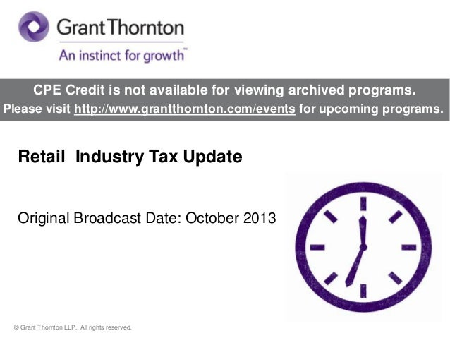 Retail  Industry Tax Update