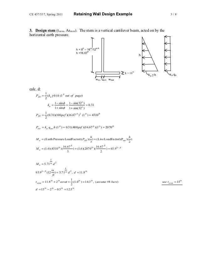 reinforced concrete wall design example with fine design example 3
