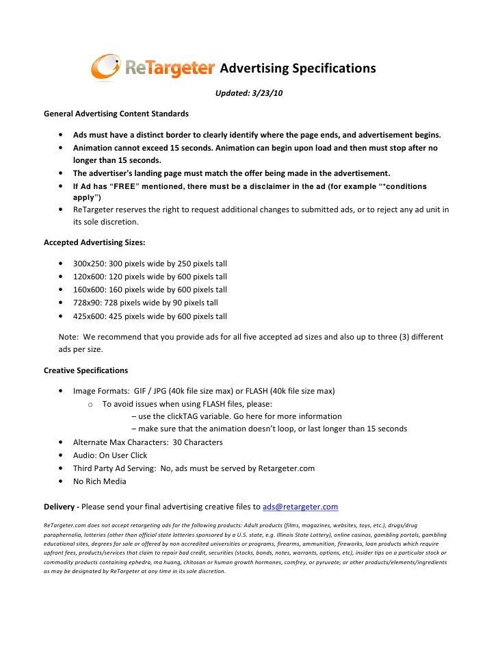 Retargeter.com Advertising Specifications                                                                     Updated: 3/2...