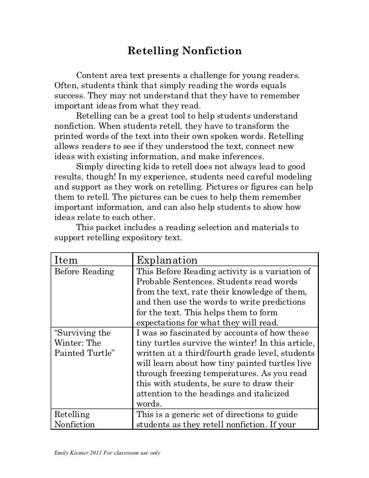 Retelling Nonfiction      Content area text presents a challenge for young readers.Often, students think that simply readi...