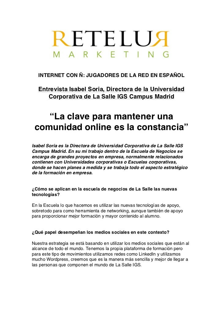 Retelur Marketing Online - Entrevista Isabel Soria - Marzo11