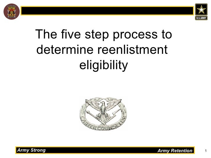 The five step process to      determine reenlistment              eligibilityArmy Strong                Army Retention   1