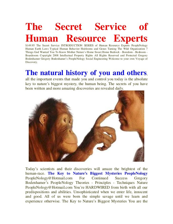 Re Thinking The Secret Service Of Human Resources People Nology Gregory Bodenhamer 082008
