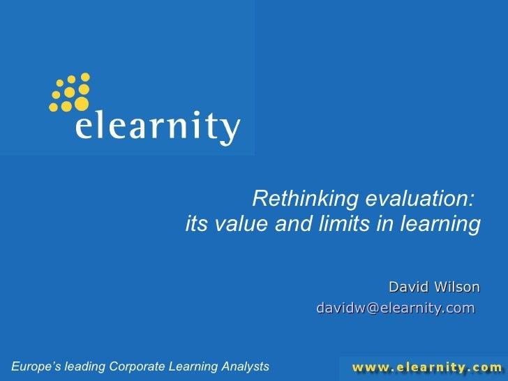 Rethinking Evaluation