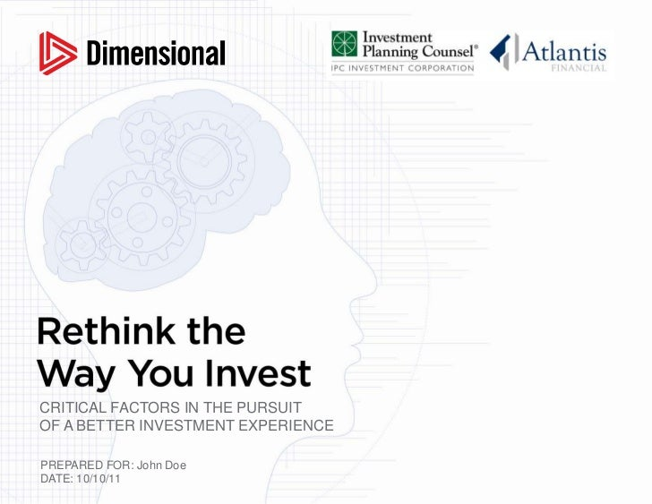 Rethink The Way You Invest