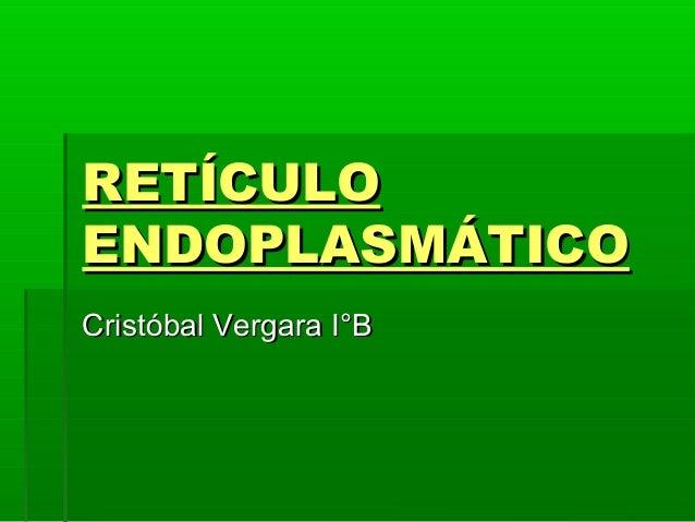 RETÍCULO ENDOPLASMÁTICO Cristóbal Vergara I°B