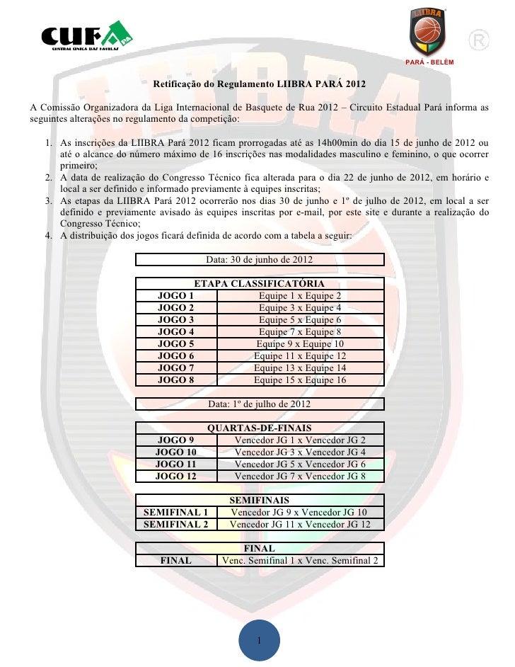 PARÁ - BELÉM                            Retificação do Regulamento LIIBRA PARÁ 2012A Comissão Organizadora da Liga Interna...