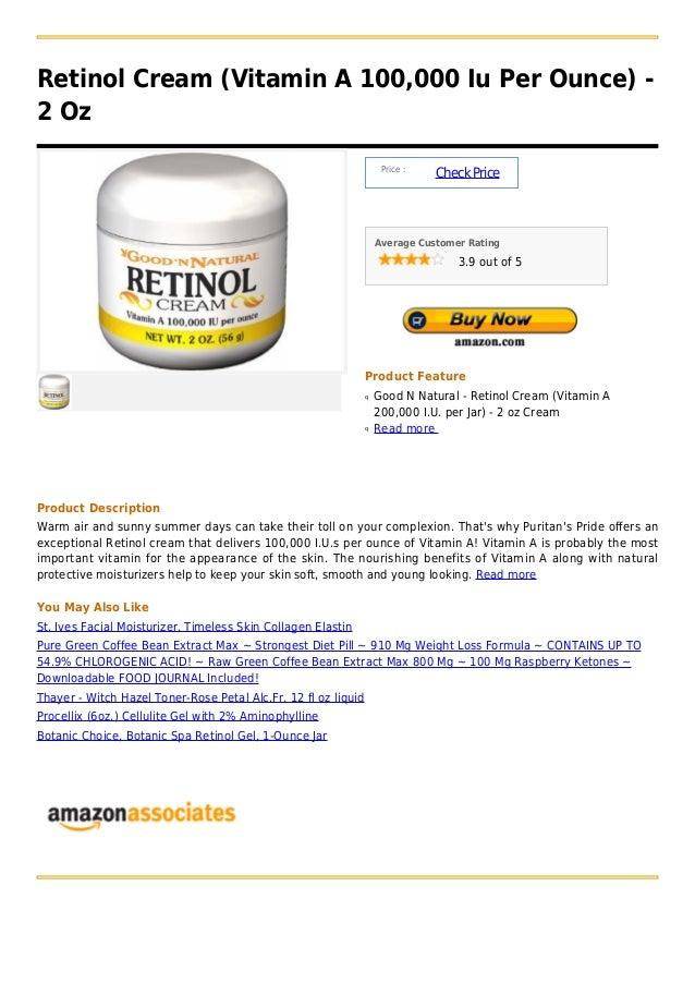Retinol Cream (Vitamin A 100,000 Iu Per Ounce) -2 Oz                                                                     P...