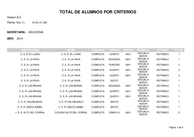 TOTAL DE ALUMNOS POR CRITERIOS Version 6.0 Mar 31,Fecha: 10:44:23 AM SECRETARIA: AÑO: HELICONIA 2014 ESTADOINSTITUCION SED...