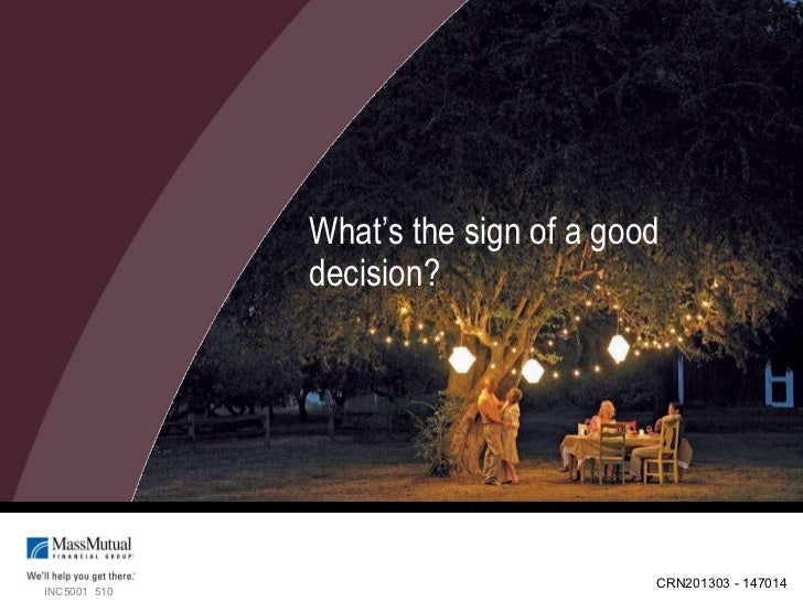 What's the sign of a good decision? INC5001  510 CRN201303 - 147014