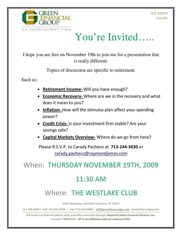 Retirement Seminar Invitation - November 19th, 2009