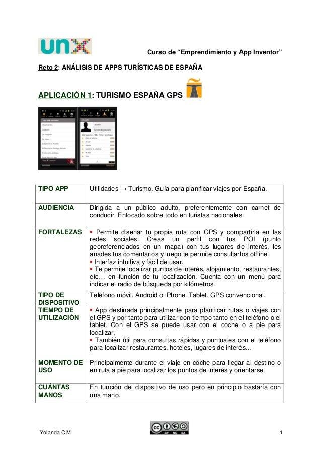 """Curso de """"Emprendimiento y App Inventor""""Reto 2: ANÁLISIS DE APPS TURÍSTICAS DE ESPAÑAAPLICACIÓN 1: TURISMO ESPAÑA GPSTIPO ..."""