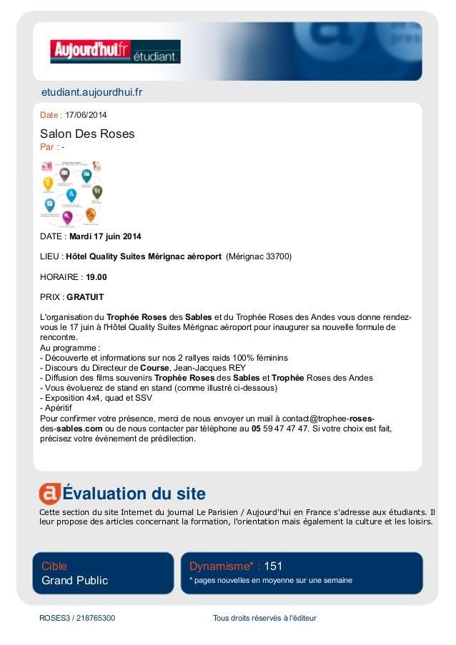 etudiant.aujourdhui.fr  Date : 17/06/2014  Salon Des Roses  Par : -  DATE : Mardi 17 juin 2014  LIEU : Hôtel Quality Suite...
