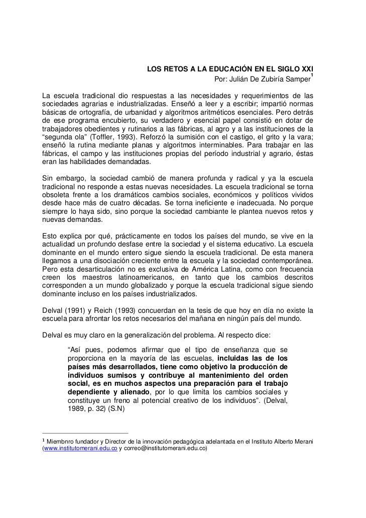 LOS RETOS A LA EDUCACIÓN EN EL SIGLO XXI                                                                                  ...