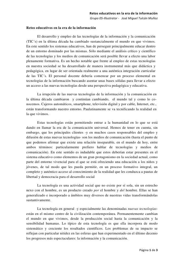 Retos educativos en la era de la información                                           Grupo 05-Illustrator - José Miguel ...