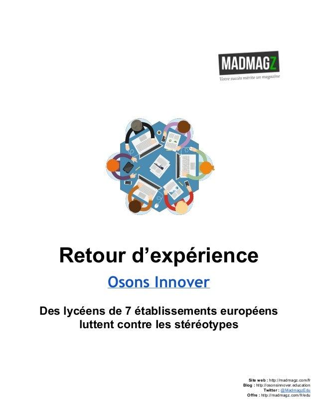 Retourd'expérience Osons Innover Deslycéensde7établissementseuropéens luttentcontrelesstéréotypes    ...