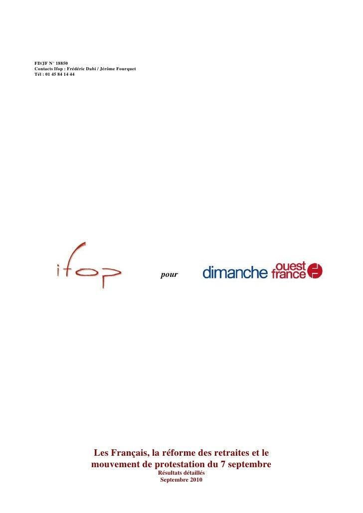FD/JF N° 18850 Contacts Ifop : Frédéric Dabi / Jérôme Fourquet Tél : 01 45 84 14 44                                       ...