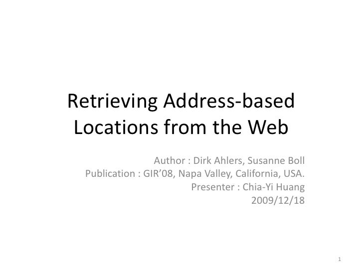 Retrieving Address Based Locations From The Web