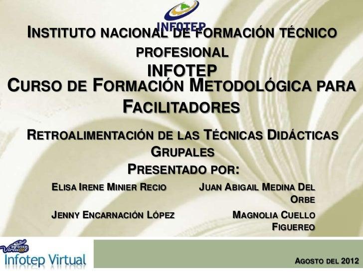 INSTITUTO NACIONAL DE FORMACIÓN TÉCNICO                      PROFESIONAL                        INFOTEPCURSO DE FORMACIÓN ...