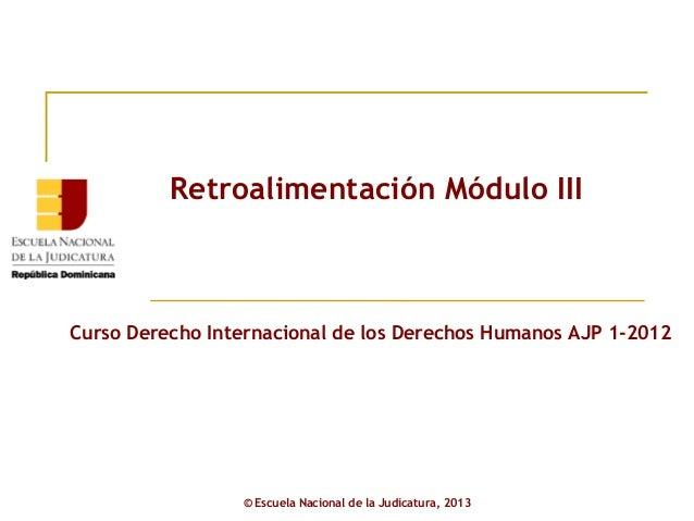 Retroalimentación Módulo IIICurso Derecho Internacional de los Derechos Humanos AJP 1-2012                 © Escuela Nacio...