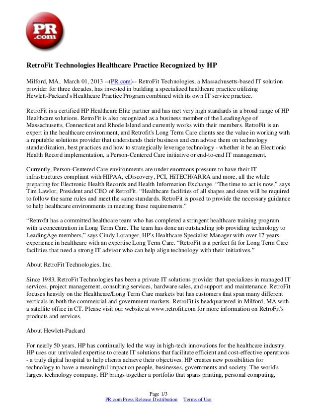 RetroFit Technologies Healthcare Practice Recognized by HPMilford, MA, March 01, 2013 --(PR.com)-- RetroFit Technologies, ...