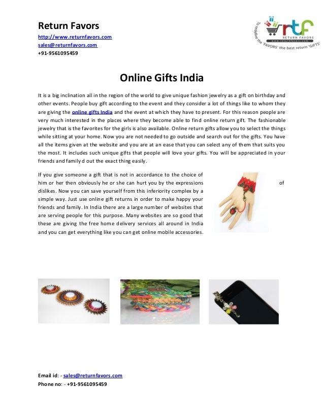 Return Favors http://www.returnfavors.com sales@returnfavors.com +91-9561095459  Online Gifts In