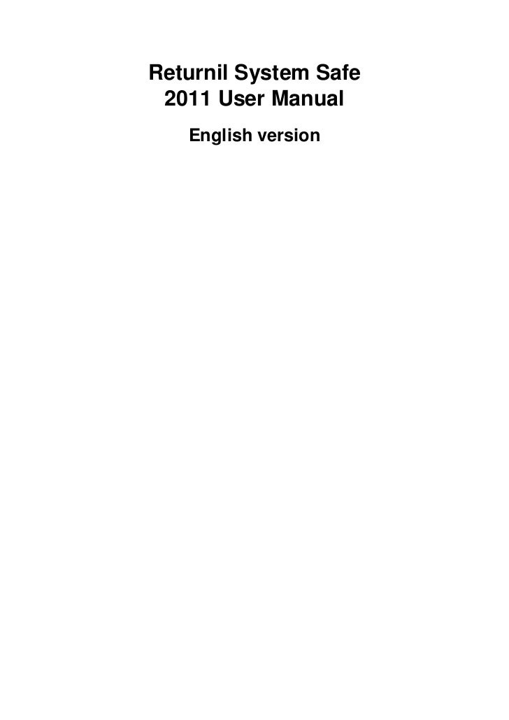 Returnil System Safe 2011 User Manual   English version