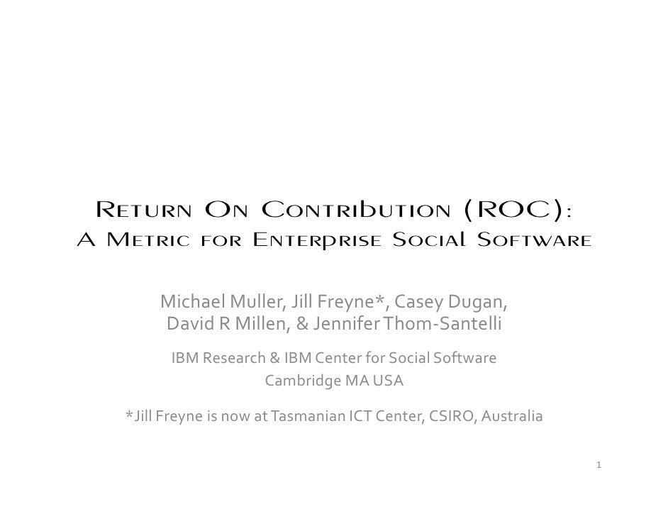 Return On Contribution (ROC)   ECSCW 2009   Muller Et Al