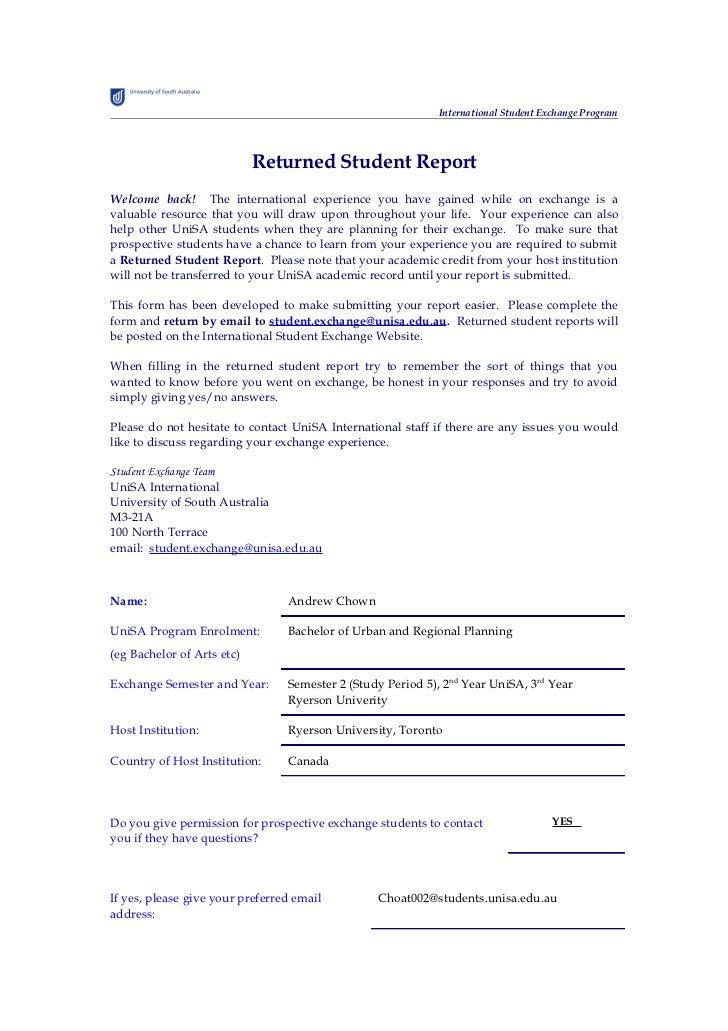 International Student Exchange Program                            Returned Student ReportWelcome back! The international e...