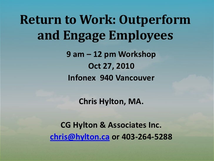 Return to work: outperform and engage employees