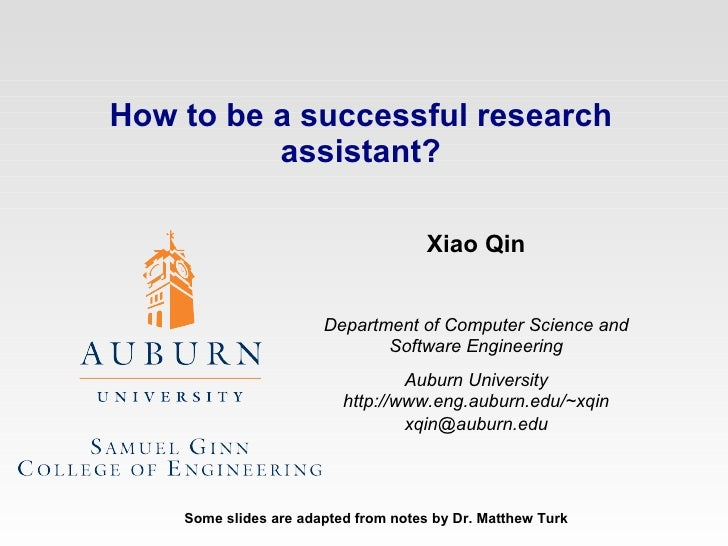 How to Succeed in the AU REU Program? Xiao Qin Department of Computer Science and Software Engineering Auburn University h...